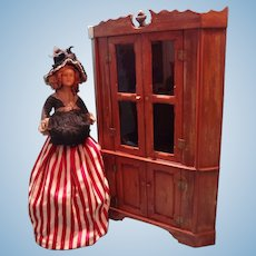 SALE Miniature Corner Cupboard with Two Glazed Doors