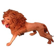 SALE Most Unusual Hide Covered Lion with Curly Fur Mane