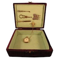 Purple Purple Velvet Box Necessaire with Silver Contents and Pocket Watch
