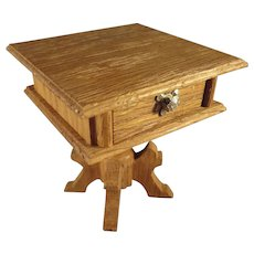 German Oak Doll House Sewing Table with Provenance