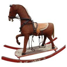 SALE Antique Rocking Horse Prancing with Tackle