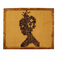 Silhouette of Lady in Counted Cross-Stitch for Doll House
