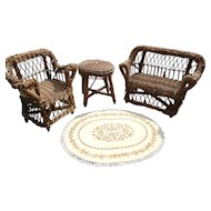 Three Piece Doll's Wicker Set
