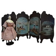 Magnificent Walnut Four Part Screen with Eight Hand Painted Scenes Signed for French Fashion