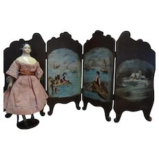 SALE Magnificent Walnut Four Part Screen with Eight Hand Painted Scenes Signed for French Fashion