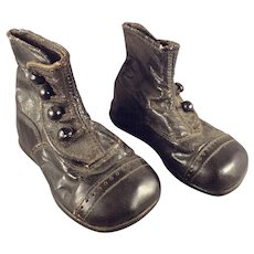 Black Leather Four Button Shoes for Large Scale Doll