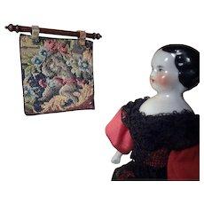 Exquisite Antique Miniature Petit Point Tapestry with Putti