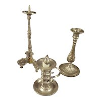 Group of Soft Metal Candlesticks and Push Up Light