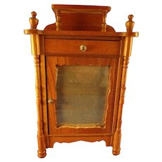 German Golden Oak Armoire with Mirror Front