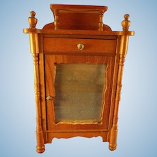 German Golden Oak Armoire with Mirror Front