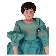 "10"" Black Hair China in Turquoise Organdy Dress"