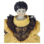 "10"" Black Hair China in Yellow Gingham Dress"