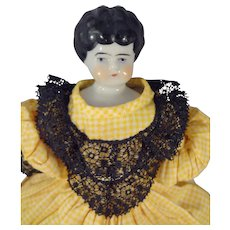 "10"" Black Hair China in Yellow Gingham Dress"