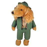 SALE Rare Stieff Mohair Dog with Swivel Head and in Green Hunt Outfit called Waldili