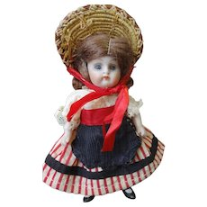 All Bisque German Chunky Doll with Glass Eyes