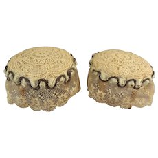 SALE Exquisite Pair of Lace Covered Doll House Stools