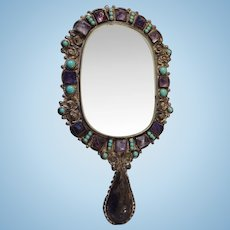 Silver Hand Mirror with Turquoise and Purple Stones