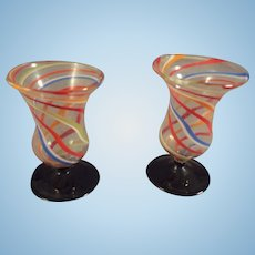 Pair of Miniature Swirl Glass Vases from Germany