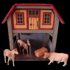 SALE German Red Roof and Litho Stable with Two Stalls and Animals