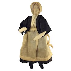 Rare Early Cloth Doll with Ink Painted Features