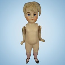 """4"""" All Bisque Doll with Pink Socks"""