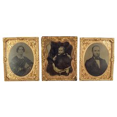Framed Antique Photographic Images of Family for Doll House