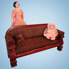 REDUCED Salesman Sample Sofa Upholstered Doll Size LAYAWAY AVAILABLE