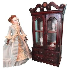 SALE French Fashion Glass Front Cabinet with Lower Drawers
