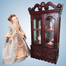 French Fashion Glass Front Cabinet with Lower Drawers