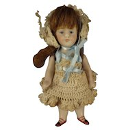 "SALE Kestner 4 1/4"" All Bisque Doll with Open/Close Mouth"