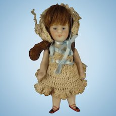"""Kestner 4 1/4"""" All Bisque Doll with Open/Close Mouth"""