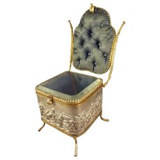 SALE Fabulous Vitrine in Form of Chair with Tufted Silk