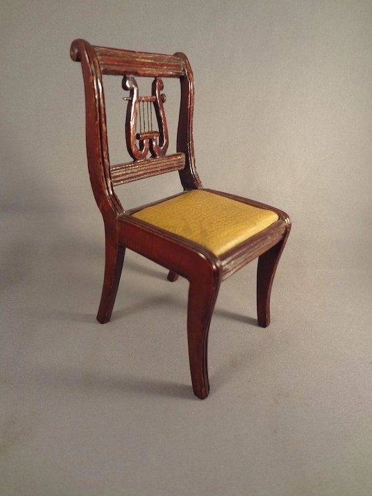 Large Doll House Scale Lyre Back Chair For Music Room