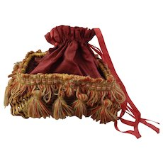 Victorian Sewing Basket with Silk Lining and Tassels