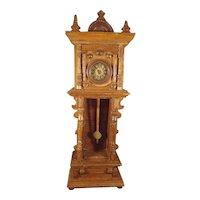 Antique Geman Doll House Grandfather Clock Tall Case