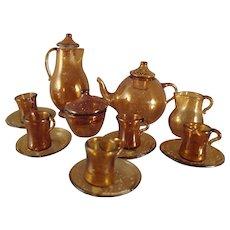 Miniature Amber Glass Coffee and Tea Set
