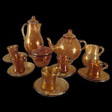 Miniature Amber Glass Coffee and Tea Set