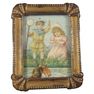 Framed Picture of Children Playing with Dog and Doll