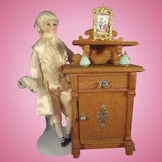 German Oak Doll House Cabinet with Shelf