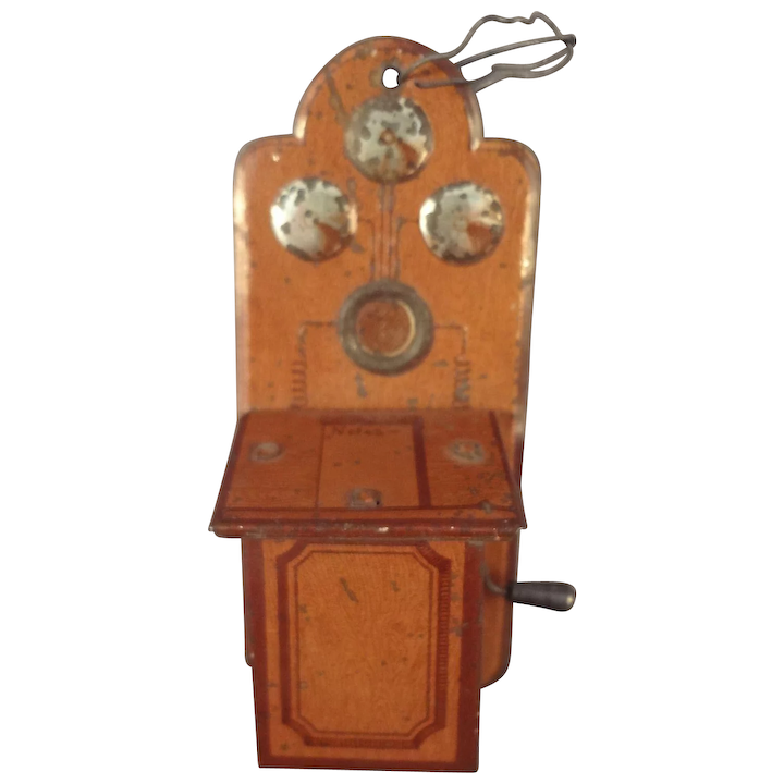 Outstanding Tin Painted Telephone For Doll House With Crank Download Free Architecture Designs Embacsunscenecom