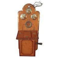 Tin Painted Telephone for Doll House with Crank