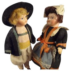 """SALE Pair of 5"""" Bisque Girl and Boy in Great Original Costumes"""