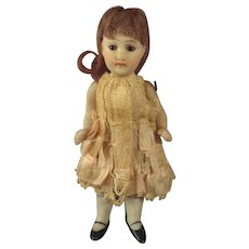 """SALE 4"""" All Bisque Doll with Glass Eyes and Jointed Limbs"""