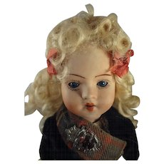 """8"""" Bisque Doll with Glass Sleep Eyes Blonde Wig and Scottish Costume"""