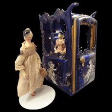 Outstanding Miniature Blue Enamel Sedan Chair with Putti