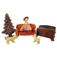 Miniature Half Scale Furniture Doll and Dogs Grouping