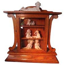 SALE Wonderful Oak Display Cabinet from former Clock Case