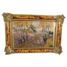 SALE Fine Miniature Petit Point Scene in Ornate Frame from France