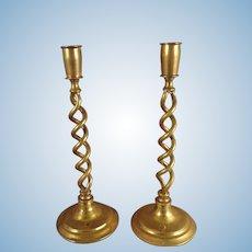 Pair Brass Candlesticks on Twisted Stem