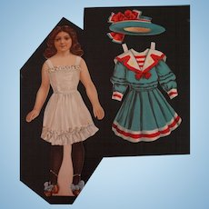 Paper Doll with Five Dresses Two Hats